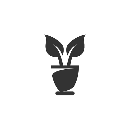 flowerpot: Flowerpot Icon isolated on a white background. Illustration