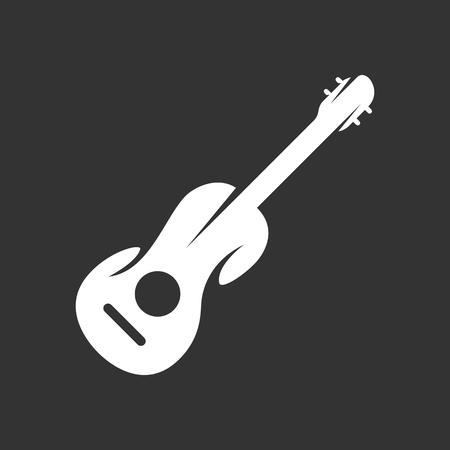 Guitar logo on black background. Vector icon