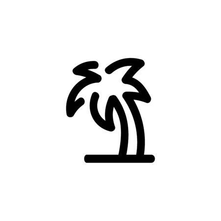 Palm tree icon. Vector hand drawn line symbol