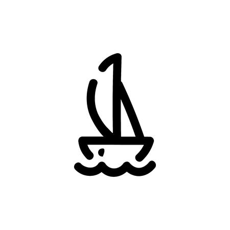 Yacht icon. Vector hand drawn illustration. Line symbol Foto de archivo - 125928390