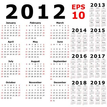 Basic Calendar 2012, 2013, 2014, 2015, 2016, 2017, 2018, 2019  Vector
