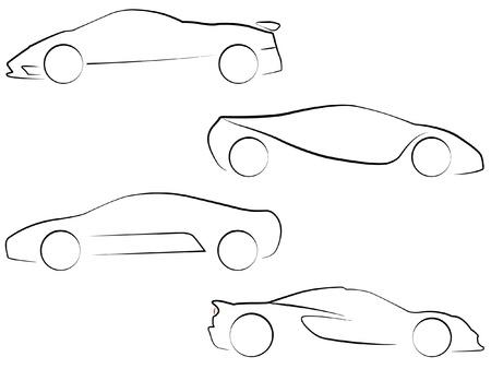 silueta coche: Contornos vectoriales de Super Cars Vectores