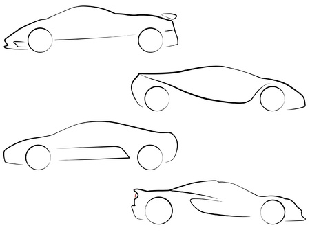 black outline:  Vector Outlines of Super Cars