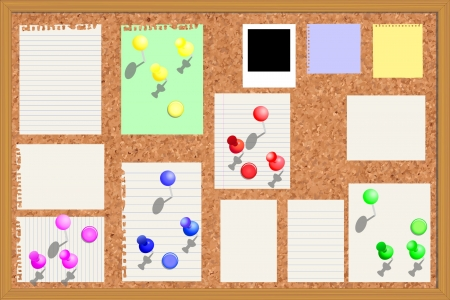 Corkboard with paper notes, memo stickers and polaroid photos