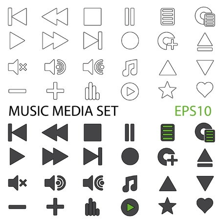 Set of Music Media Icons Both Standard and Outline