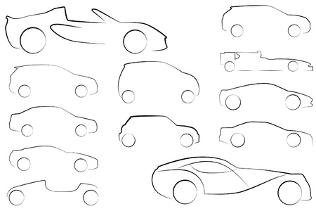 Large Collection of car outlines in different styles Vector