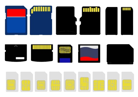 Selection of Memory and SIM Cards Stock Vector - 16308242