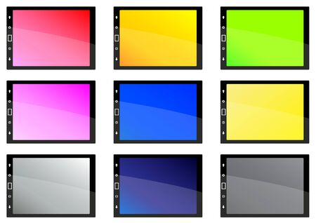 Black tablet pc on white background with coloured screens  Illustration