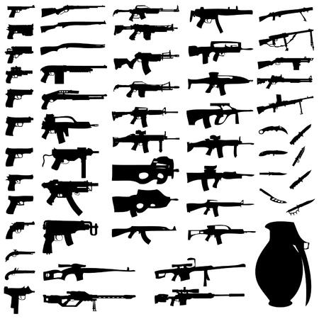 gun silhouette: Set - Weapons - Pistols, Sub Machine Guns, Assault Rifles, Sniper Rifles, LMGs, Knives, Grenades