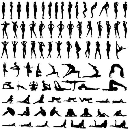 gymnastik: Människor silhuetter
