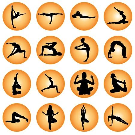 circular muscle:  Yoga Icon Set  Illustration