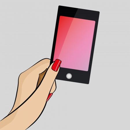 Womans main tenant un téléphone mobile moderne Banque d'images - 17286132