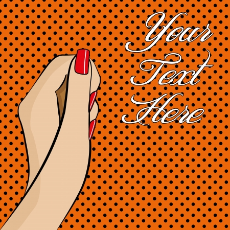 A pop art style womans hand with colourful background and space for text