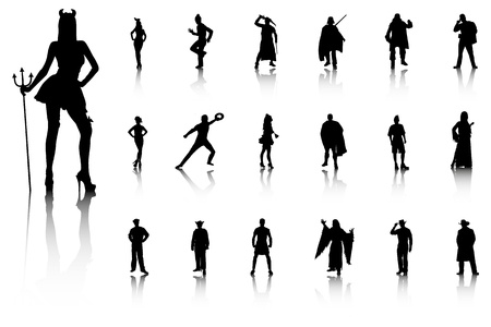 Set of sexy silhouettes in costumes