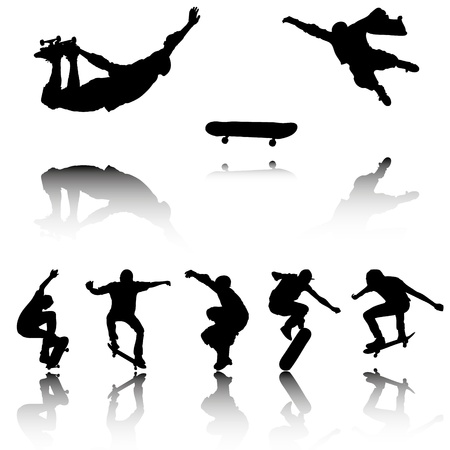 Silhouettes of Skateboarders with reflection   Vector