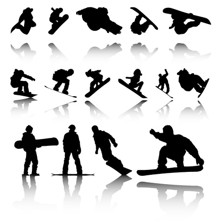Silhouettes of Snowboarders with reflection  Illustration