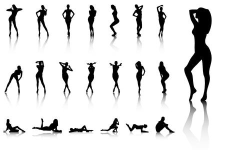 Sexy woman poses with reflection Ilustração