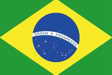 frontview: An illustration of the flag of Brazil Stock Photo