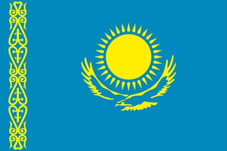 An illustration of the flag of Kazakhstan Stock Photo