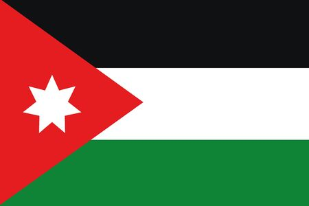 frontview: An illustration of the flag of Jordan Stock Photo