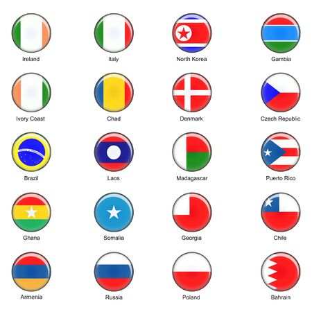 puertorico: Illustrated  World Flag Buttons