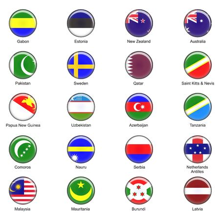 Illustrated  World Flag Buttons   photo