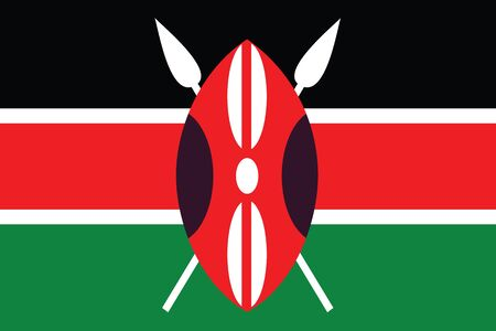 kenya: An Illustrated Drawing of the flag of Kenya Stock Photo