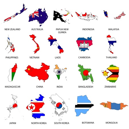 newzealand: Illustrated Outlines of Countries with Flag inside them