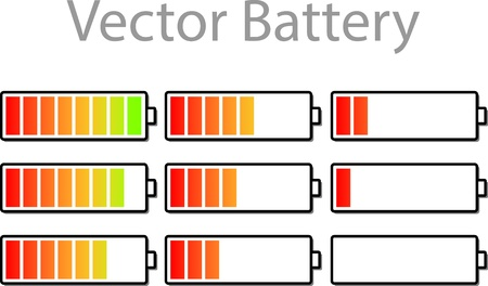 energize: Vector Battery Gauge Symbol Icons Illustration