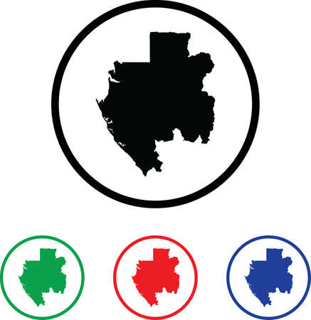 Gabon Icon Illustration with Four Color Variations illustration