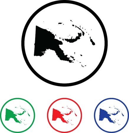 papua: Papua New Guinea Icon Illustration with Four Color Variations Stock Photo