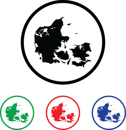 Denmark Icon Illustration with Four Color Variations illustration