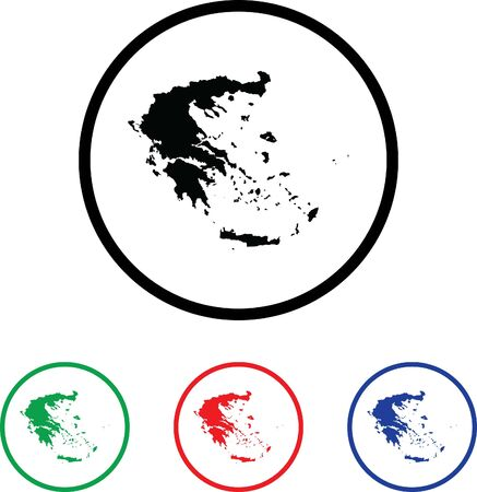 Greece Icon Illustration with Four Color Variations illustration