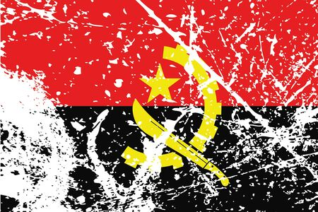 angola: Decayed flag of Angola Stock Photo
