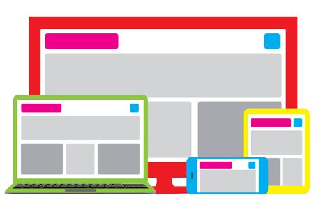 flexible business: Fully responsive web site design across multiple platforms Stock Photo