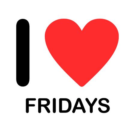 A Font Type Illustration - I Love Fridays Banco de Imagens