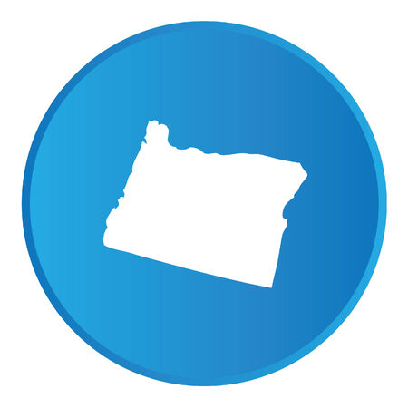 state of oregon: 3D Button with the shape of American State - Oregon