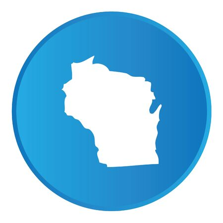 state wisconsin: 3D Button with the shape of American State - Wisconsin
