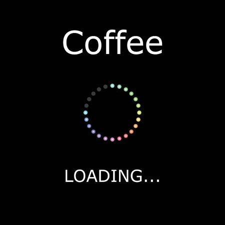positiveness: A LOADING Illustration with Black Background - Coffee Stock Photo