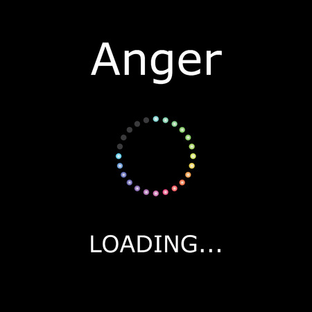 positiveness: A LOADING Illustration with Black Background - Anger