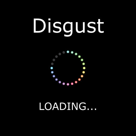 disgust: A LOADING Illustration with Black Background - Disgust Stock Photo