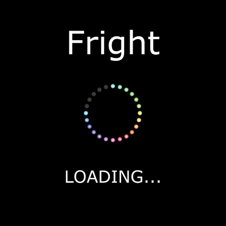 txt: A LOADING Illustration with Black Background - Fright