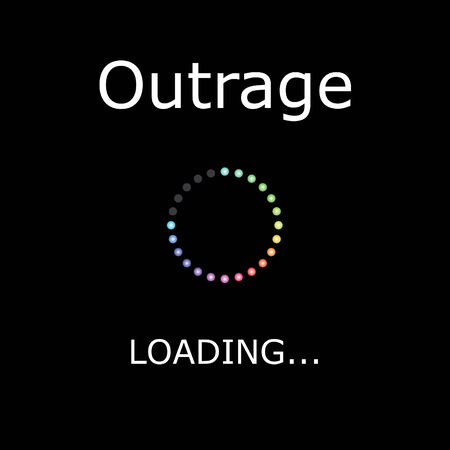 outrage: A LOADING Illustration with Black Background - Outrage Stock Photo