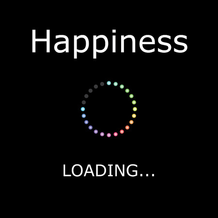 positiveness: A LOADING Illustration with Black Background - Happiness