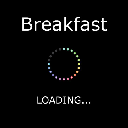positiveness: A LOADING Illustration with Black Background - Breakfast Stock Photo