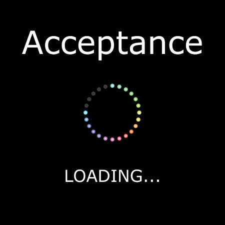 acceptance: A LOADING Illustration with Black Background - Acceptance Stock Photo