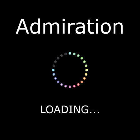 admiration: A LOADING Illustration with Black Background - Admiration Stock Photo