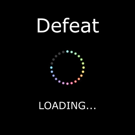 A LOADING Illustration with Black Background - Defeat Stock Photo