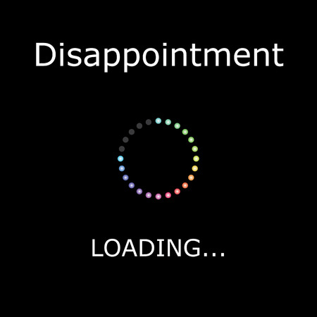 disappointment: A LOADING Illustration with Black Background - Disappointment Stock Photo