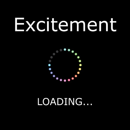 excitement: A LOADING Illustration with Black Background - Excitement Stock Photo